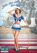 1/24 Suzie USN Pin-Up Girl Standing Holding Performer Cane Saluting