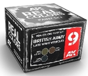 Real Colors: British Army Late WWII Vehicles Acrylic Lacquer Paint Set (3) 10ml Bottles