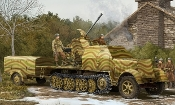 German SdKfz 7/2 Halftrack w/3.7cm Flak 43 Gun & Supply Trailer