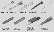 US Aircraft Weapons Set: Air-to-Air Missiles (35)