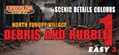 N. Europe Village Debris & Rubble Scenic Details Color #1 Acrylic Set (3 22ml Bottles)
