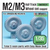 1/35 US M2/M3 Half-Track Sagged Front Wheel set (for Dragon)