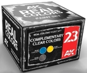 Real Colors: Complementary Clear Colors Acrylic Lacquer Paint Set (3) 10ml Bottles