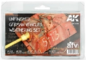 AFV Series: Unfinished German Vehicles Weathering Enamel Set (4 Colors, 2 Pencils) 35ml/17 Bottles