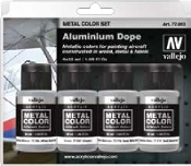 32ml Bottle Aircraft Aluminum Dope Metal Color Paint Set (4 Colors)