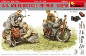 WWII US Motorcycle Repair Crew (3) w/2 Motorcycles, Tools & Boxes (Special Edition)