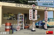 German Gas Station 1930-40s Accessories: Fuel Pump, Oil Drums, Generator, Equipment