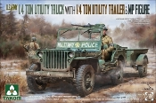 US Army 1/4-Ton Utility Truck w/Trailer & MP Figure